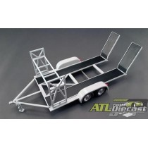 Tandem Car Trailer with Tire Rack - Grey 1:18