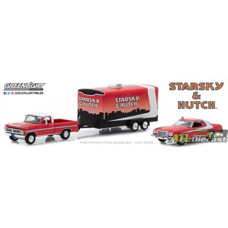 31060-A - 1-64 Hollywood Hitch Tow 5 - Starsky and Hutch - 1972 Ford F-100 w 1976 Ford Gran Torino in Hauler (Front,High Res).j