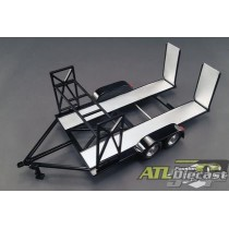 Tandem Car Trailer with Tire Rack - black 1:18