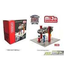 2 Post Lift With Oil Drainer and Mechanic Figure Red - American Diorama 1:64 - 38375 MJ ATLPASSIONDIECAST