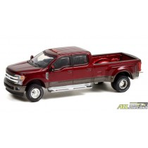 2019 Ford F-350 Dually in Red Ruby and Stone Gray - Dually Drivers 7 - Greenlight 1:64 - 46070 F ATLPASSIONDIECAST.COM